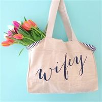 Wifey Striped Canvas Tote Bag
