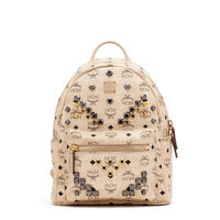 MCM Small Stark M Odeon Studs Backpack In Beige