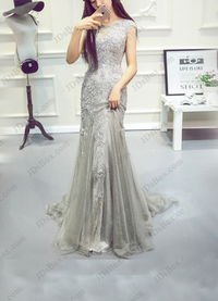 PD16018 Gray keyhole back lace mermaid prom gown dress
