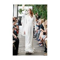 Delphine Manivet - Fall 2015 - High Waisted Crepe Dress with High Neckline and Long Sleeves - Stunning Cheap Wedding Dresses|Prom Dresses On sale|Various Bridal Dresses