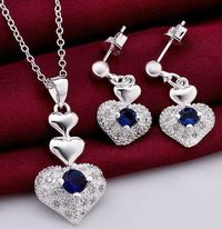 Jewelry Sets 925 sterling silver Gem Crystal Cz Zircon LOVE Heart $14.69