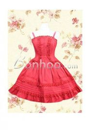 Popular Simple Red Spaghetti Straps Sweet Lolita Dress