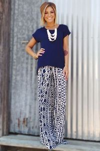 Love that palazzo pants can be worn professionally. Chic work outfit. Create your own chic work look with printed palazzo pants only $14.99 on Amazon.