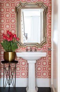 If there's one space that wallpaper with bold patterns or bright colors is suited for, it's the powder room! When design options are limited by tight qua...