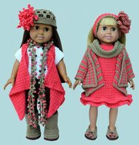 """American Girl 18"""" Doll Crochet Clothing Patterns fits American Girl, Springfield, Syndee, etc."""