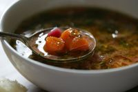 This is a sweet and buttery tomato-onion soup that evolved, many years ago, toward a kind of borscht, but stopped short Borscht tastes too earthy for my palate
