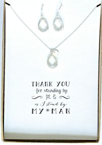 Set of 6 Clear Crystal Necklace Earrings Set, Silver initial Necklace Crystal Earrings Set, Clear Crystal Jewelry Sets for Bridesmaids, TS6 $284.50