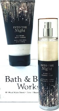 Bath and Body Works INTO THE NIGHT Diamond Shimmer Mist 8oz & Glowing Body Scrub $23.13
