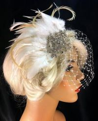 Bridal Fascinator, Ivory Feather Fascinator, Bridal Veil, Wedding Veil, 1920s flapper, Bridesmaid, Hair Accessories