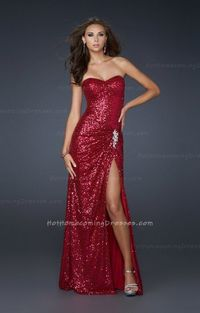 La Femme 17104 Sexy Front Slit Sequin Long Fuchsia Homecoming Dress larger image  La Femme 17104 Sexy Front Slit Sequin Long Fuchsia Homecoming Dress