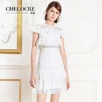 Hollow Out Slimming A-line High Waisted Frilled Lace Formal Wear Dress - Bonny YZOZO Boutique Store
