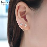 Moon Stars Rhinestone Trendy Zinc Alloy Women Earings Brincos 1 Two Piercing Ear Cuff Ring Chain Double Earring $1.35