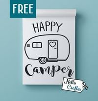 Happy Camper SVG Freebie Use this free SVG in your own craft projects. This file is intended for Cricut, Silhouette Studio, Cricut Design Space, Make the cut, Scals and other cutting machines that accept SVG. And this zip file includes the following: SVG,...