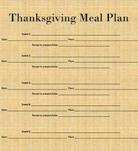 Thanksgiving Meal Plan and Ingredient Printables