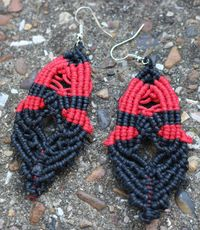 Handmade Black and Red Macrame Drop Earrings. Made From Waxed Cotton Cord £6.99