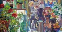 """When my dear teacher, mentor and friend Helen Van Wyk (of PBS TV's """"Welcome To My Studio"""") died, she left me her still-life subjects as well as her studio easel. This painting includes many of those subjects and was painted on that e..."""