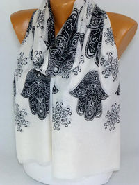 Hamsa Scarf, Scarves, Shawl, Hamsa Printed Scarf, Hand of Fatima, infinity Scarf, Lightweight Summer Scarf, Gift for Christmas, mothers day $16.00