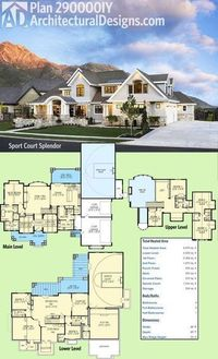 "Introducing Architectural Designs Luxury House Plan 290000IY. With a sport court in the lower level, we're calling this one ""Sports Court Splendor"". 6 beds, over 6,000 sq. ft. and incredible views out the back. Ready when you are. Where do Y..."