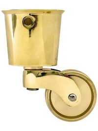"Brass Furniture Casters. Solid Brass Round Cup Caster with 1 1/4"" Brass Wheel"