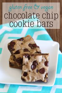 Gluten Free and Vegan Chocolate Chip Cookie Bars - Ask Anna