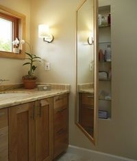 Find Space between the studs in a bathe and add a mirror with a hinge for the door, great dual purpose.