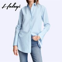 Office Wear Vogue Fresh Student Style High Low One Color 9/10 Sleeves Blouse - Bonny YZOZO Boutique Store