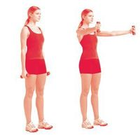 Hold a dumbbell in each hand and stand with your feet shoulder-width apart, arms at your sides, palms in. With arms straight but not locked, raise the weights d