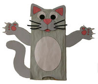 paper bag cat and puppet