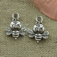 Pack of 50 Silver Colour Bee Charms. 16mm x 12mm Pendants. £6.99