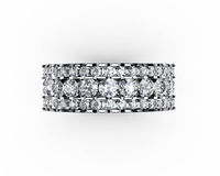 Wide Band Ring Anniversary Gift Diamond ring Eternity ring 18K White Gold Big Ring 3 Row Ring Diamond Natural Diamonds April Birthstone $3636.18