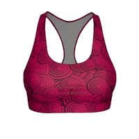 "Exclusively from And Above All YOGA --- ""Circles in Red"" Cut & Sew Sports Bra for just $34.95 with FREE SHIPPING"