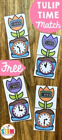 Telling time can be a tricky concept for little learners and tackling it often needs a lot of practice. Thankfully, this super cute tulip matching game is a fun