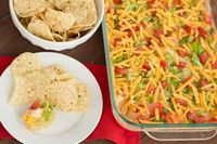 My mom's old recipe for Taco Dip - only a few ingredients and it's ready in less than 10 minutes!