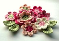 Crochet Flowers Applique Set in Pink and Green by AnnieDesign, $13.50