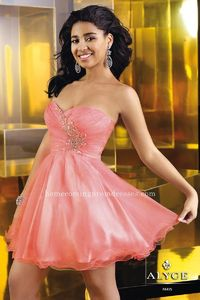 Strapless A-line Coral Alyce Paris 3555 Short Sweetheart Homecoming Dresses