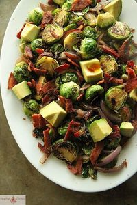 Brussles Sprouts with Red Onion, Bacon and Avocado by Heather Christo