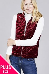 20% discount with BESTDEAL at checkout! Quilted Padding W/suede Piping Detail Velvet Vest $25.00