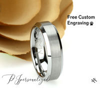 Matte Tungsten Wedding Band Men, Custom Engraving 6mm Shinny Edges Tungsten Ring Men, Tungsten Carbide Mens Promise Ring, Couple Gift $66.00