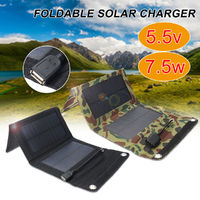 7.5W 5.5V Waterproof Portable Foldable Solar Panel Charger with USB Port