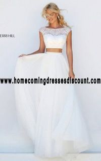 Ivory Sherri Hill 50038 Beads Girl Prom Dress