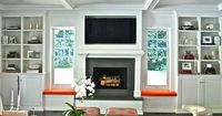 Jackson Page Interiors - living rooms - beadboard, coffered ceiling, gray, orange, skirted, ottomans, beadboard, lined, white, built-ins, wi...