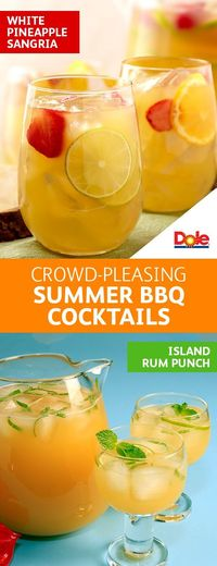 Crowd-Pleasing Summer BBQ Cocktails - No backyard party is complete without the perfect party drink. And there's no better complement to your cocktail than DOLE® Canned 100% Pineapple Juice. From White Pineapple Sangria to Island Rum Punch, you...