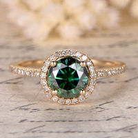 6.5MM ROUND 1CT GREEN MOISSANITE AND DIAMOND ENGAGEMENT RING 14K YELLOW GOLD HALO STACKING RING