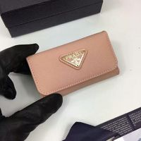 Prada 1M0224 Triangle Logo Saffiano Leather Key Holder In Apricot