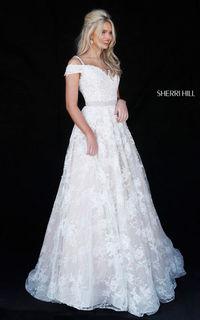 IVORY LONG SHERRI HILL 51451 BEADED LACE HOMECOMING DRESS