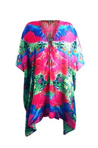 With Love Tropical Print Luxury Short Lace-Up Kaftan Dress in Fuchsia