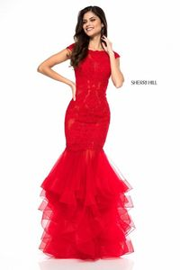 Red Unique 2018 New 51564 Cap Sleeve Tulle Mermaid Gown