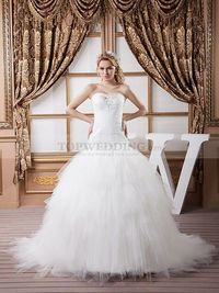 STRAPLESS LUXURY TULLE BRIDAL GOWN WITH LACE UP BACK AND TIERED SKIRT