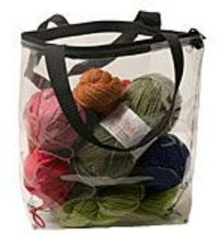 "Knitting Project Bags - Available in differing sizes. I love the idea of being able to see at a glance what is in the bag. I currently use the clear vinyl zipper bags that sheet sets come in, but handles would be ""handy""."