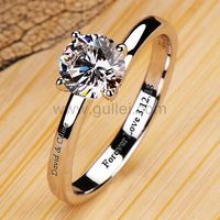 Gullei.com 0.6 Carat Diamond Engagement Ring for Her with Custom Engraving